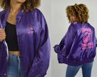 Vintage 80s Satin jacket Varsity sports jacket bomber Button up retro Hipster 80s - Medium