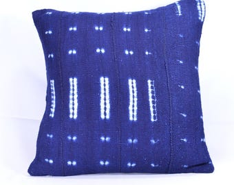 19x19 Double-Sided Indigo Mud cloth Pillow Cover; Tie & Dye Mudcloth Throw Pillow; Bogolanfini Decorative Pillow from Mali - BF1031 SALE!