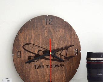 BIG SALE Pilot gift Wall Clock Wooden Airplane Room Decor Aviation Round Hanging Wanderlust Travel Gift for Her Flight Attendant Girlfriend