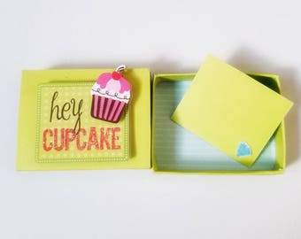Hey Cupcake Miniature Matchbox Card Message/ Valentine card/ Anniversary/Birthday/Love/ Wedding
