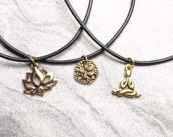Pewter Gold Chokers, Lotus Flower Choker, Sandollar, Yoga, Gold Pewter, Black Choker, Choker Necklace.