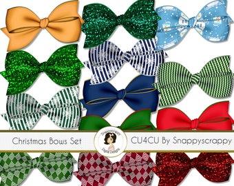Bow Clipart, Digital Scrapbooking, Bow Scrap Kit Collection, Christmas, CU4CU
