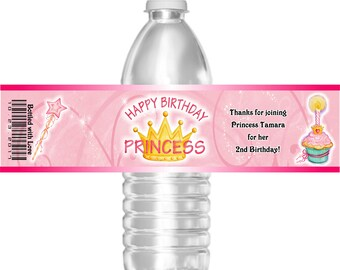 Printable Birthday Party Water Bottle Labels Princess Cupcake 16.9 oz Water Mini Water Gatorade