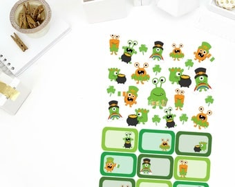 St. Patrick's Day Monster Stickers for your Erin Condren Life Planner, Filofax, Paper Plum, calendar and/or scrapbook