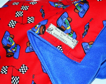 Kids Race Car Blanket, Reversible Fleece Blanket, Baby Boy Blanket, Baby Boy Quilt, Car Blanket, Racing Blanket, Blue Fleece Baby Blanket