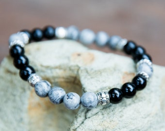 Gray Jasper, Black Onyx Bracelet, Silver Beads, Mens Bracelet, Healing Jewelry, Beaded Bracelet, Boho Bracelet, Gift For Him, 8mm