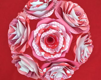 """Valentine's Bouquets - Valentine's flowers - paper flowers with stems - 4.5"""" flowers and 16"""" stems - 4 flowers/bouquet or 1 bouquet of 8"""