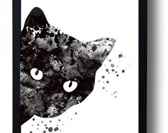 SUMMER SALE Cat watercolor art print Black cat painting cat poster Animal watercolor painting Home wall art Woman cat print Wall hanging Cat
