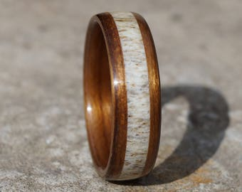 Bent ring walnut wood and deer antler inlay