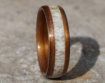 Bent ring walnut wood and deer antler inlay