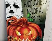 Creepy Halloween Wall Sign, Horror Movie Decorations, Halloween, Michael Myers, Haddonfield, Custom Aluminum Halloween Signs EvilGrinGifts