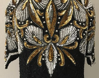 Silver and gold dress , vintage sequin dress , gold gown, black dress , sequin dress