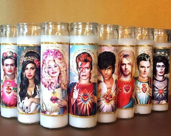 Parody - Prayer Candle - Dirty Lola - Saint Bowie - Saint Dolly - Saint Frida Kahlo - Saint Kurt - Saint Amy - Saint Moz - Fan Art