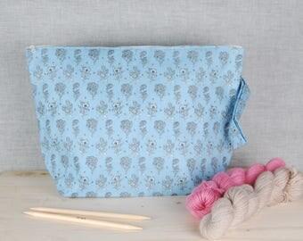 Large knitting project bag, sweater bag, wedge bag, crochet project bag, yarn bag, drop spindle bag, wip bag, extra large zipper bag