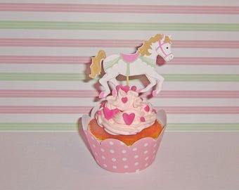 10 Small cake-toppers carousel merry-go-round horse decorations