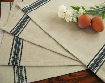 Farmhouse Grain Sack Placemats - Grainsack Placemats - #1 Black Stripe and Light Taupe