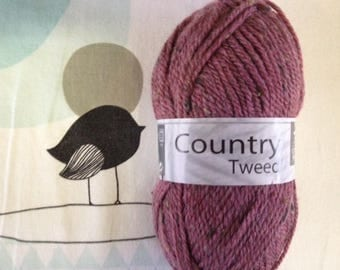 Plum wool COUNTRY TWEED - white horse
