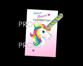Unicorn Valentine Cards, Magical Unicorn, School Valentine Cards, Kids Valentine Cards, Girl Valentine, Use with or without LOLLIPOP