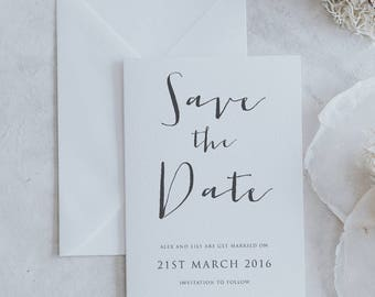 Printed Calligraphy Style Save the Date Cards. Simple and Modern Save the Date Card with Envelope. Wedding Save the Date Cards.
