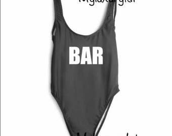BAR Custom Words Personalized Slogan Women's Swimsuit Wear Bathing Suit 1 Piece Swim Pool Party Open Back Body Suit