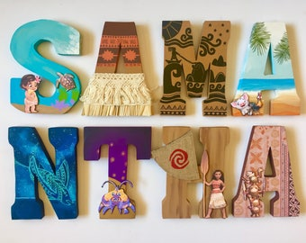 Moana Themed Letters - Home Decor - Party Decorations - Wood letters - Custom Letters