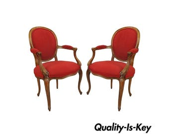 Pair of Baker French Country Louis XV Style Arm Chairs Oval Upholstered Back Vintage