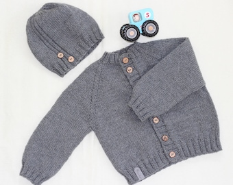 Hand knitted sweater; merino wool sweater; baby sweater; cardigan for baby; baby boy sweater; baby girl sweater; hand knit baby clothes