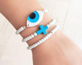 greek jewelry, evil eye jewelry, evil eye bracelet, blue cross bracelet, bracelet set, greek mati, turquoise cross jewelry, beaded bracelet