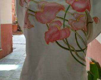 Aasif blouse, pink hand painted silk