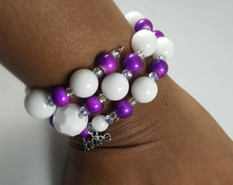Purple and white HOPE memory wire wrap bracelet