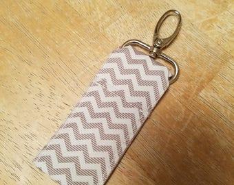 Grey Chevron Keychain Chapstick Holder