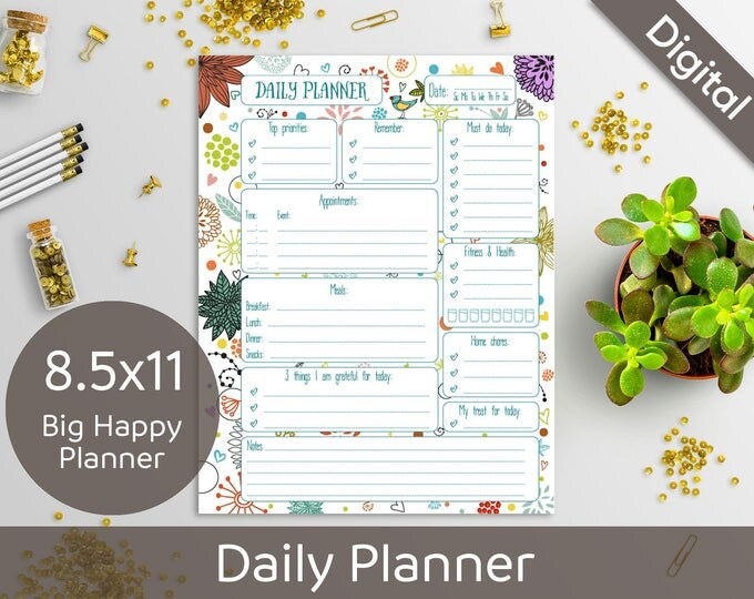 8.5x11 Daily Planner Printable, Printable Daily Schedule, Big Happy Planner, US Letter size, Syasia Cute Floral, DIY PDF Instant Download