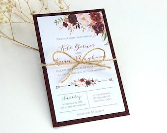 Burgundy Wedding Invitation, Floral Burgundy Wedding Invitation, Marsala Invitation, Floral Wedding Invitation, Calligraphy Invitation