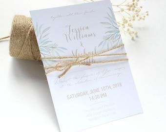 Eucalyptus Wedding Invitation, Rustic Wedding Invitation, Twine Wedding Invitation, Greenery Wedding Invitation, Botanical Invitation