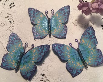 Teal Tie Dye Purple AB Glass Bodied Butterflies DarlingArtByValeri Set for Scrapbooking Embellishment Mini Albums Cards Wedding Gifts