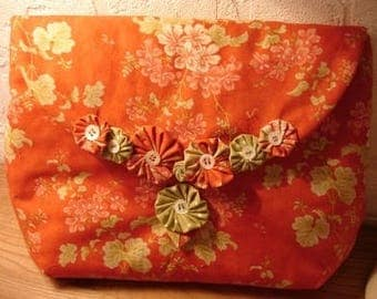 "Kit ""Yoyo"" fabric orange background, floral pattern"