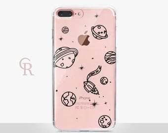 Planets Clear iPhone 7 Case - Clear Case - For iPhone 8 - iPhone X - iPhone 7 Plus - iPhone 6 - iPhone 6S - iPhone SE Transparent Samsung S8