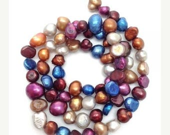 SALE 15% OFF Freshwater pearls, Nuggets, 1 Street blue, red, 6-8 mm,