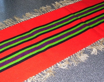 Mexican Table Runner Wool 17x42.5 Vintage
