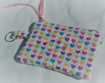 Quilted Coin Purse, Zipper Purse, Zipped Pouch, Multi-Coloured Hearts