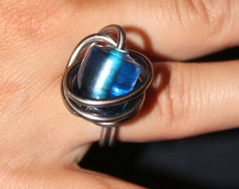 Blue Bead and gunmetal aluminum wire ring
