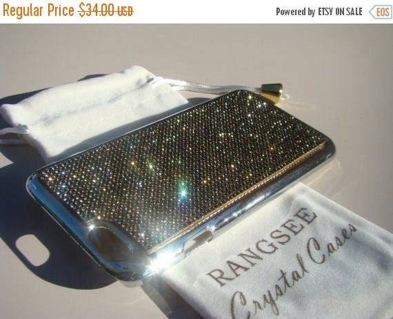 """Sale iPhone 6 / 6s Case Black Diamond Rhinstone Crystals on iPhone 6 / 6s Silver Chrome Case. """" Gold Edition"""" , Genuine Rangsee Crystal Case"""