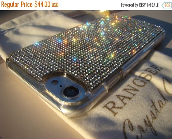 Sale iPhone 7 Case Clear Rhinstone Crystals on iPhone 7 Transparent Clear Case. Velvet/Silk Pouch Included, Genuine Rangsee Crystal Cases.