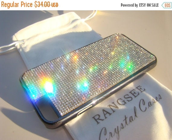 """Sale iPhone 6 / 6s Case Clear Rhinstone Crystals on iPhone 6 / 6s Black Chrome Case. """" Gold Edition"""" , Genuine Rangsee Crystal Cases."""