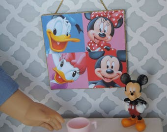 Disney Characters Mickey, Minnie, Daisy and Donald Picture Dollhouse Decor for American Girl and other 18 inch dolls
