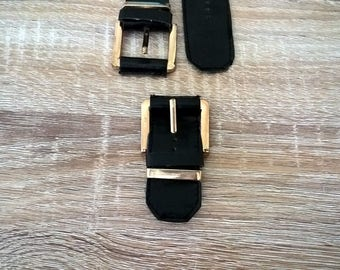 Black and gold metal buckle leather and imitation with his passing and its matching strap
