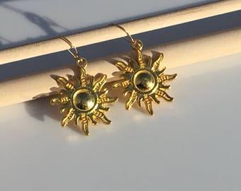Gold Sun Brass Dangle Earring, 925 Sterling Silver