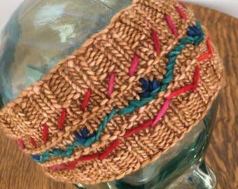 Handknit Merino Wool Headband, #023