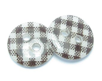 BUTTON 13mm GINGHAM white chocolate and 2 loops