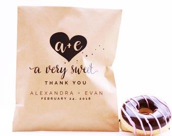 Wedding Favor Bag, Wax Lined Favor Bag, Custom Favor Bag, Popcorn Bag, Dessert Table, Donut Bag, Wedding Favor, Love is Sweet, Donut Box